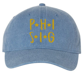 Phi Sigma Sigma Comfort Colors Starry Night Pigment Dyed Baseball Cap