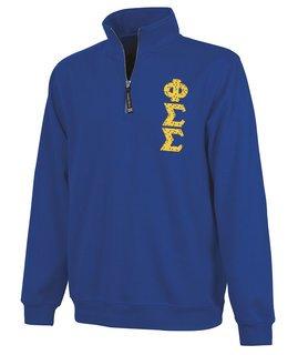Phi Sigma Sigma Crosswind Quarter Zip Twill Lettered Sweatshirt