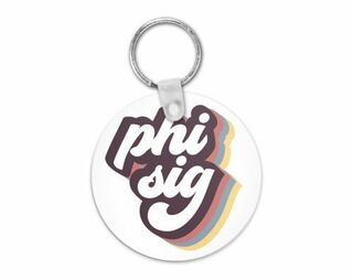 Phi Sigma Sigma Retro Script Keychain