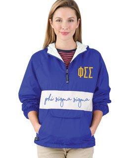 Phi Sigma Sigma Custom Stripe Script Pullover Anorak