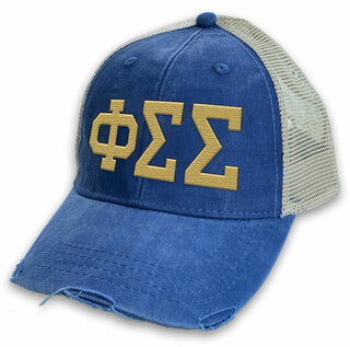 Phi Sigma Sigma Distressed Trucker Hat