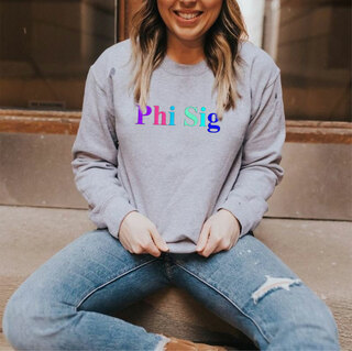 Phi Sigma Sigma Embroidered Rainbow Nickname Crewneck