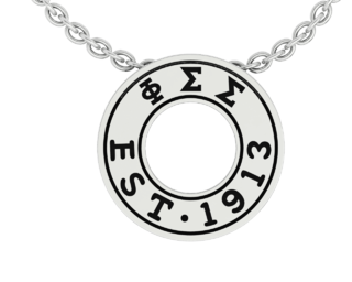 Phi Sigma Sigma Eternity Silver Charm Lavalier