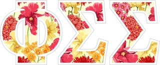 "Phi Sigma Sigma Floral Greek Letter Sticker - 2.5"" Tall"