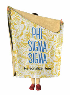 Phi Sigma Sigma Floral Sherpa Lap Blanket