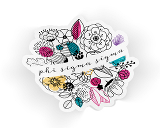 Phi Sigma Sigma Flower Sticker