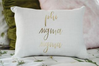 Phi Sigma Sigma Gold Imprint Throw Pillow