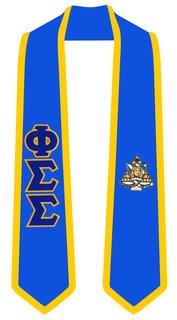 Phi Sigma Sigma Greek 2 Tone Lettered Graduation Sash Stole