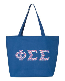 Phi Sigma Sigma Greek Letter Zipper Tote