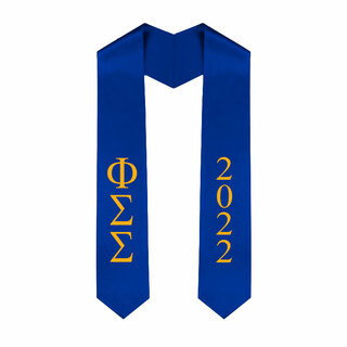 Phi Sigma Sigma Greek Lettered Graduation Sash Stole With Year - Best Value