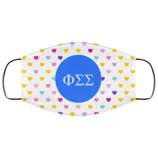 Phi Sigma Sigma Hearts Face Mask