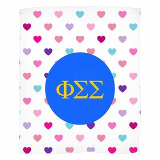 Phi Sigma Sigma Hearts Fleece Blanket