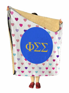 Phi Sigma Sigma hearts Sherpa Lap Blanket