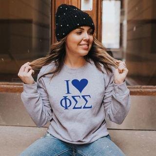 Phi Sigma Sigma I Love Crewneck Sweatshirt