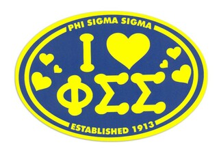 Phi Sigma Sigma I Love Sorority Sticker - Oval