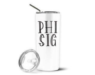 Phi Sigma Sigma Inline Stainless Tumbler