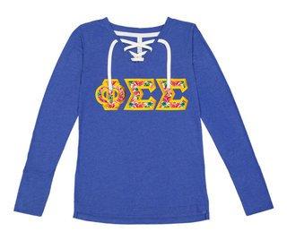 Phi Sigma Sigma LAT - Sorority Fine Jersey Lace-Up Long Sleeve T-Shirt