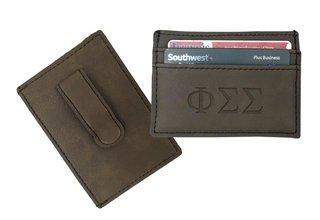 Phi Sigma Sigma Leatherette Money Clip