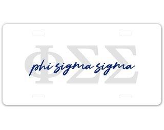 Phi Sigma Sigma Letter Script License Plate