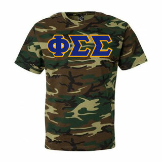 DISCOUNT-Phi Sigma Sigma Lettered Camouflage T-Shirt