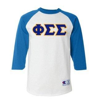 DISCOUNT-Phi Sigma Sigma Lettered Raglan Shirt