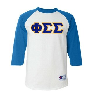 DISCOUNT-Phi Sigma Sigma Lettered Raglan Shirt