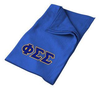 DISCOUNT-Phi Sigma Sigma Lettered Twill Sweatshirt Blanket