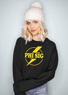 Phi Sigma Sigma Lightning Crewneck Sweatshirt