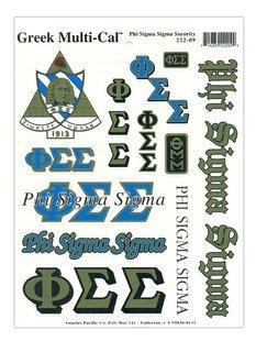 Phi Sigma Sigma Multi Greek Decal Sheet