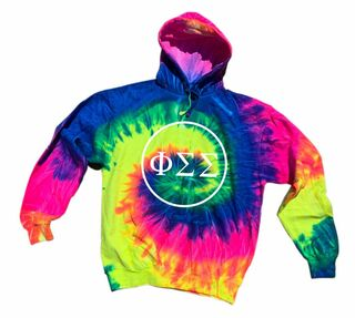 Phi Sigma Sigma Neon Rainbow Tie-Dyed Pullover Hood