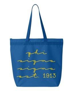 Phi Sigma Sigma New Script Established Tote Bag