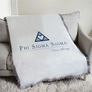 Phi Sigma Sigma Once Always Afghan Blanket Throw