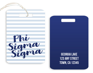 Phi Sigma Sigma Personalized Striped Luggage Tag