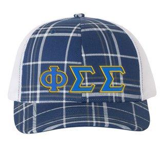 Phi Sigma Sigma Plaid Snapback Trucker Hat - CLOSEOUT