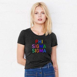 Phi Sigma Sigma Rainbow Triblend Short Sleeve Tee