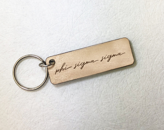 Phi Sigma Sigma Rectangle Script Keychain