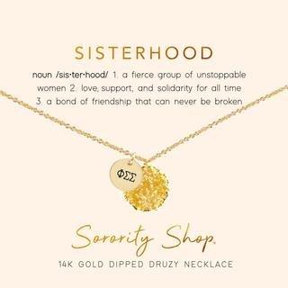 Phi Sigma Sigma Sisterhood Druzy Necklace