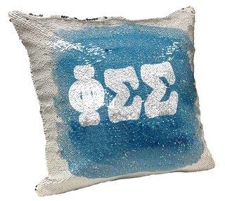 Phi Sigma Sigma Sorority Flip Sequin Throw Pillow Cover