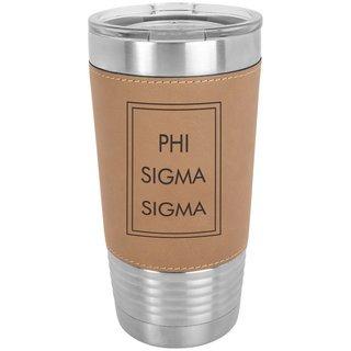 Phi Sigma Sigma Sorority Leatherette Polar Camel Tumbler