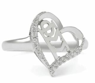 Phi Sigma Sigma Sterling Silver Heart Ring set with Lab-Created Diamonds