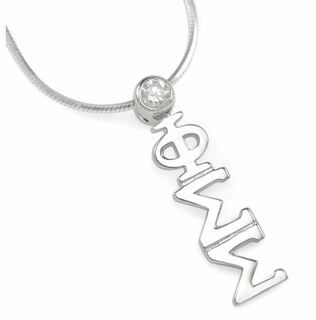Phi Sigma Sigma Sterling Silver Lavaliere with clear crystal