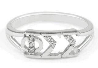 Phi Sigma Sigma Sterling Silver Ring set with Lab-Created Diamonds