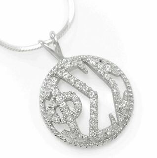 Phi Sigma Sigma Sterling Silver Round Pendant with Pave Lab-created Diamonds