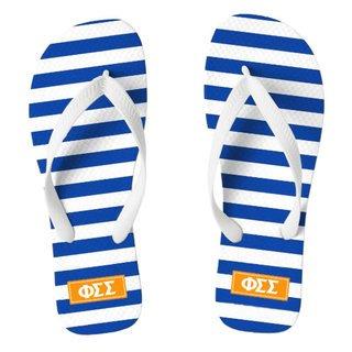 Phi Sigma Sigma Striped Flip Flops