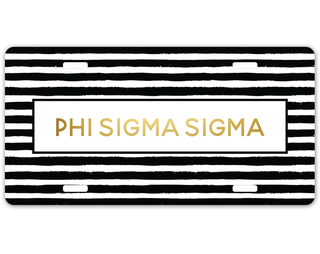 Phi Sigma Sigma Striped Gold License Plate