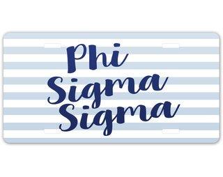 Phi Sigma Sigma Striped License Plate