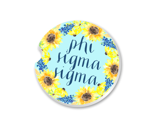 Phi Sigma Sigma Sunflower Car Coaster