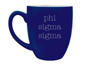 Phi Sigma Sigma Type Engraved Bistro Mug