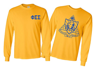 Phi Sigma Sigma World Famous Crest Long Sleeve T-Shirt- MADE FAST!