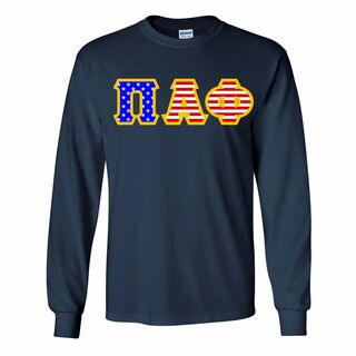 Pi Alpha Phi Greek Letter American Flag long sleeve tee
